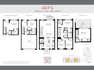 South Garden - Unit B Plan in University Village Row Homes, Chicago, IL
